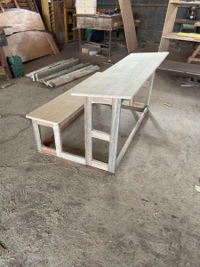Desk and bench for the girls