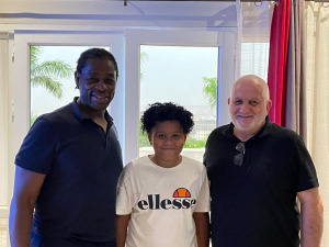 Serge Betsen, Jean-Guy Monneret and his son Wet